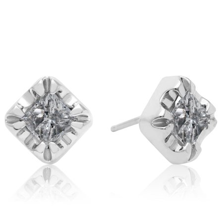 1 Carat Princess Shape Diamond Stud Earrings In White Gold