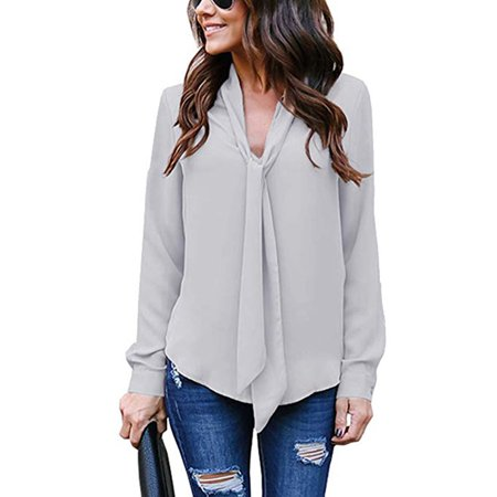 Women's Cuffed Long Sleeve Casual V Neck Chiffon Blouses Tops with Tie (Chiffon Tie)