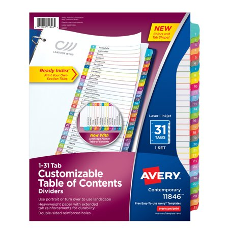 Avery Customizable Table of Contents Dividers, Ready Index Printable Section Titles, Preprinted 1-31 Arched Multicolor Tabs, 1 Set (11846)