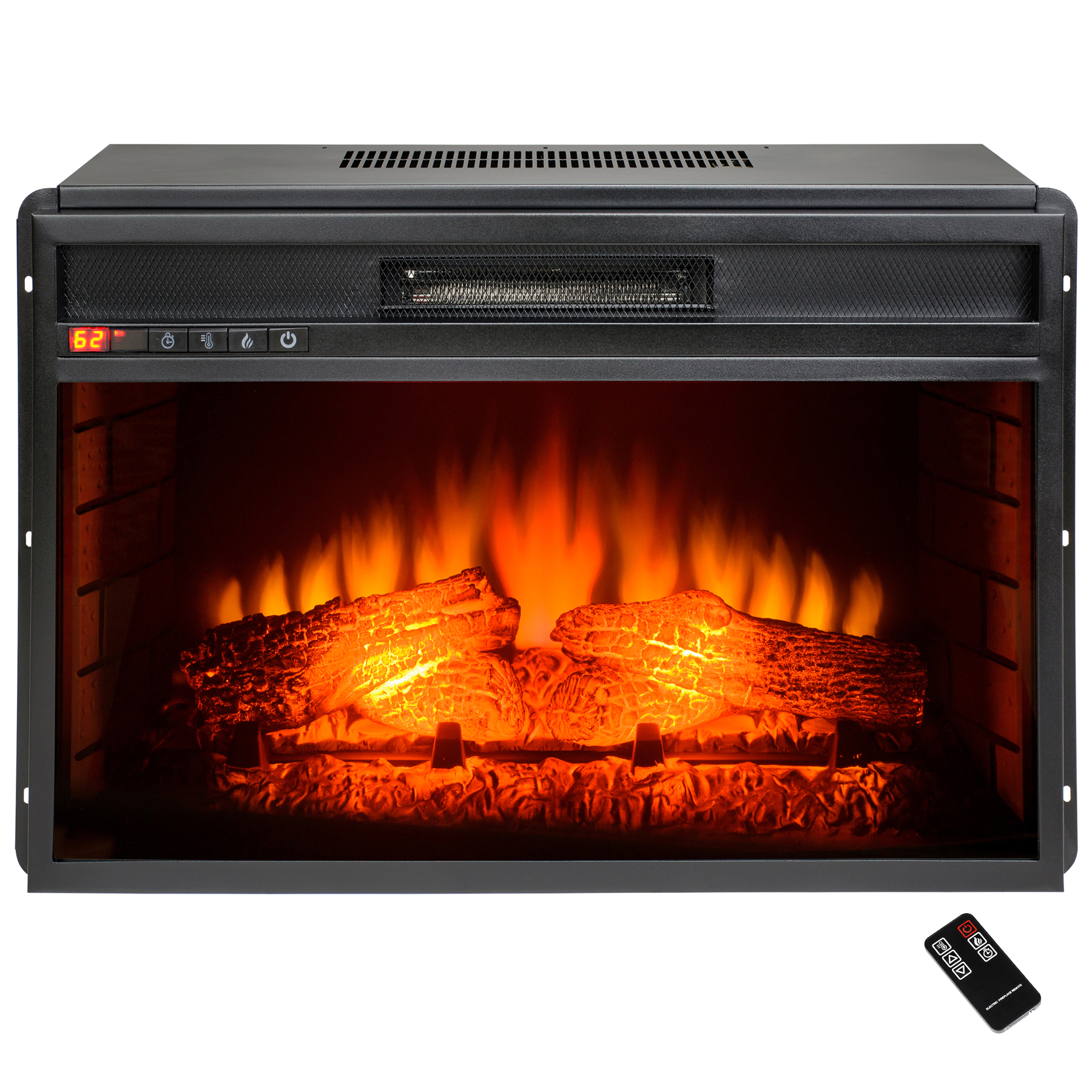"AKDY 27"" FP0055 Freestanding 22 Setting Insert Electric Fireplace Push Button Control w/ Log Set & Remote"