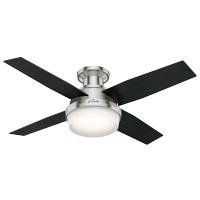 """Hunter 44"""" Dempsey Brushed Nickel Ceiling Fan with Light Kit and Remote"""