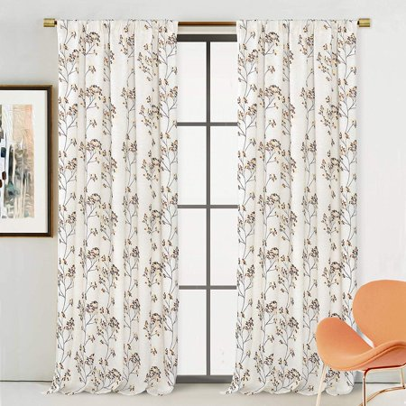 DriftAway Wyn Floral Branch Elegant Embroidery Linen Blend Lined Grommet  Window Curtain for Bedroom Living Room Single 52 Inch by 84 Inch Beige