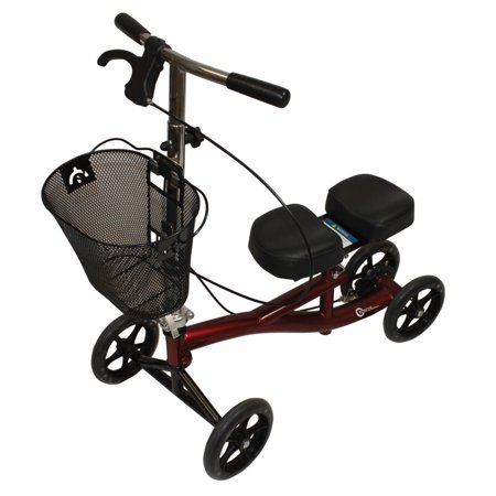 Roscoe Medical Knee Walker Scooter with Basket and Padded Seat, Burgundy