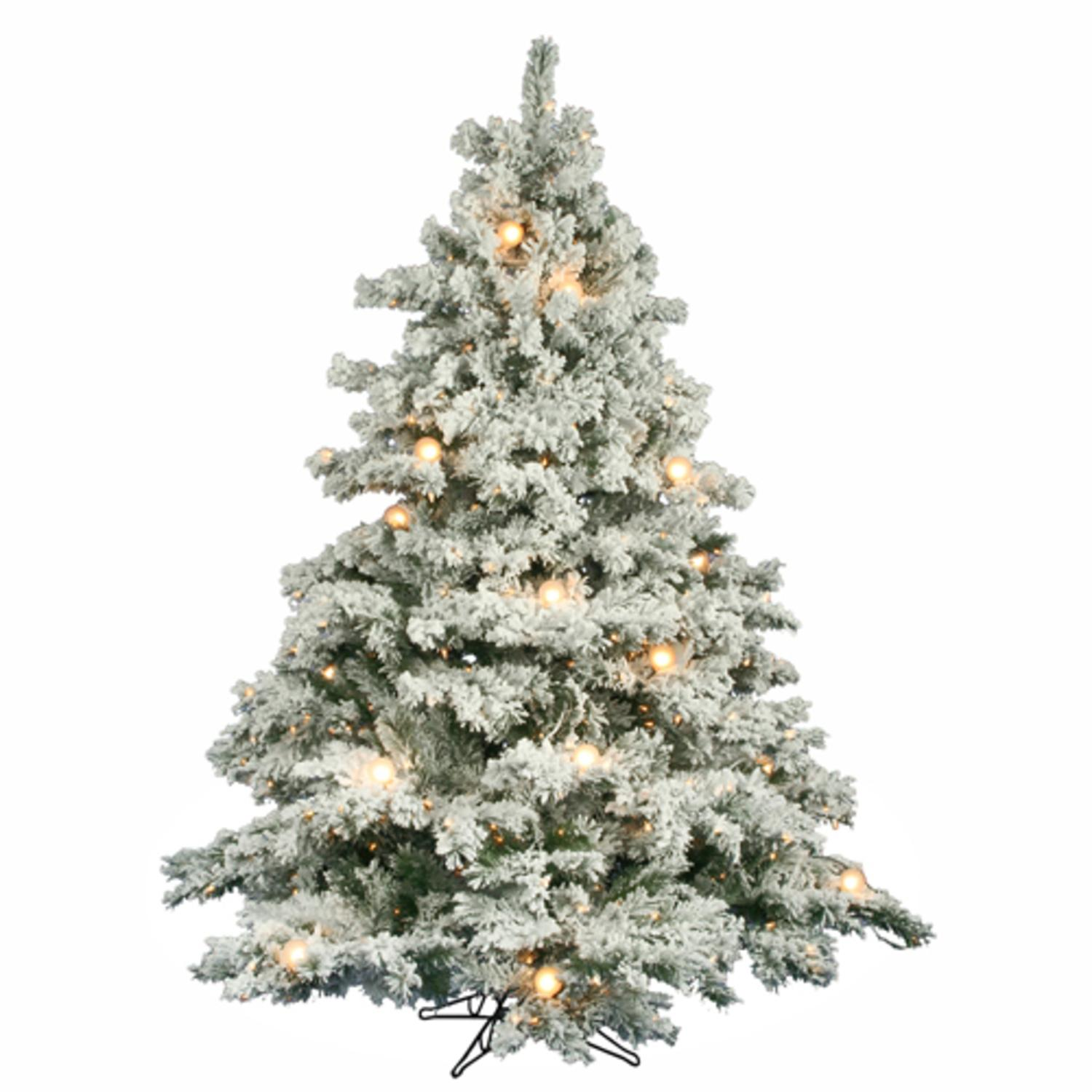 9' Pre-Lit Flocked Alaskan Artificial Christmas Tree - G50 & Clear Lights