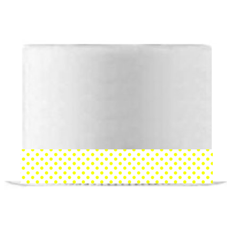 White and Yellow Polka Dot Edible Cake Decoration Ribbon -6 Slim Strips - Polka Dot Cake
