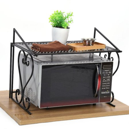 Metal Microwave oven Rack/shelf Kitchen Shelves Counter and Cabinet Shelf Black Iron Fashionable Folding Microwave Oven Rack Stand