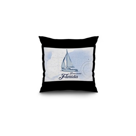 Pensacola  Florida   Sailboat   Blue   Coastal Icon   Lantern Press Artwork  16X16 Spun Polyester Pillow  Black Border