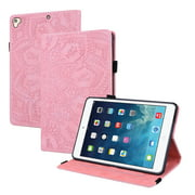 "iPad 7th Gen Case, iPad 10.2"" 2019 Case, Allytech PU Leather Folio Slim Mandala Embossed Pencil Holder Cards Holder Multi-Angle Stand Shockproof Case Cover for Apple iPad 7th Generation, Pink"
