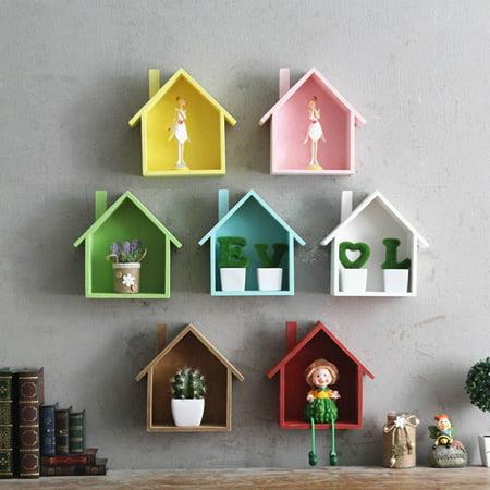 Awe Inspiring Diy Wooden House Storage Case Holder Wall Hanging Shelf Flower Pot Racks Shelves Home Remodeling Inspirations Genioncuboardxyz
