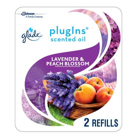 Glade PlugIns Scented Oil Refill Lavender & Peach Blossom, Essential Oil Infused Wall Plug In, Up to 100 Days of Continuous Fragrance, 1.34 oz, Pack of