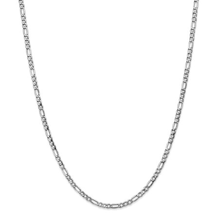 - 14k White Gold 3.5mm Link Figaro Necklace Chain Pendant Charm Gifts For Women For Her