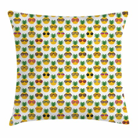 Tropical Throw Pillow Cushion Cover, Pineapples Wearing Sunglasses Funny Arrangement with Exotic Fruits Illustration, Decorative Square Accent Pillow Case, 18 X 18 Inches, Multicolor, by Ambesonne (Pineapple With Sunglasses)