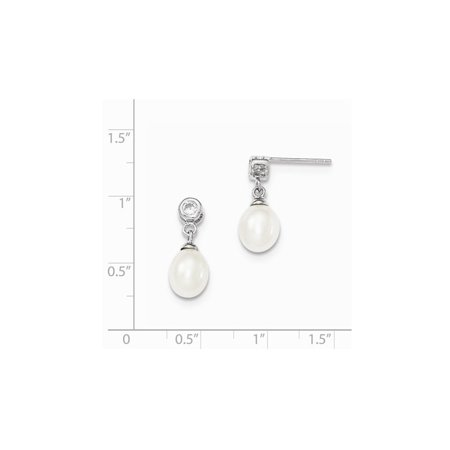 Sterling Silver Freshwater Cultured White Pearl 7-8mm Post Dangle Earrings - image 1 of 2