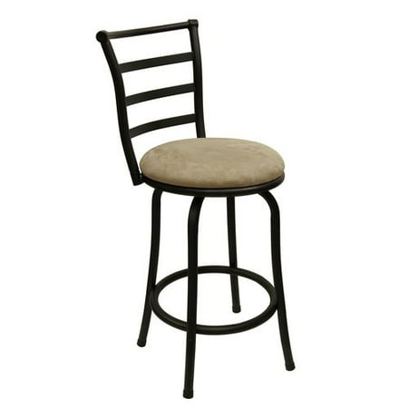 "Mainstays 24"" Ladder Back Swivel Barstool with Microfiber Cushion, Tan"