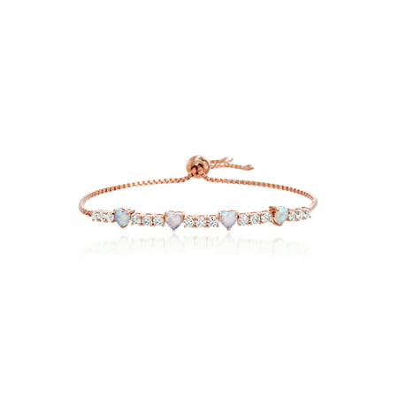 Cubic Zirconia and White Opal Chain Slider Bracelet