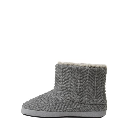 DF by Dearfoams Women's Textured Knit Bootie with Plush Lining slippers