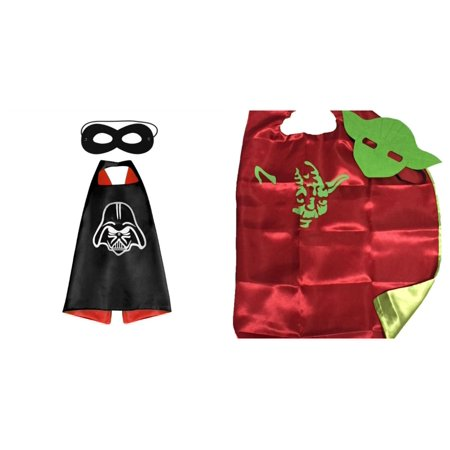 Star Wars Vader & Yoda Costumes - 2 Capes, 2 Masks w/Gift Box by - Darth Vader Mask And Cape