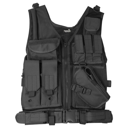 Cross Draw Pistol Holster - Lancer Tactical Cross Draw Magazine and Pistol Holster Adjustable Vest with Belt