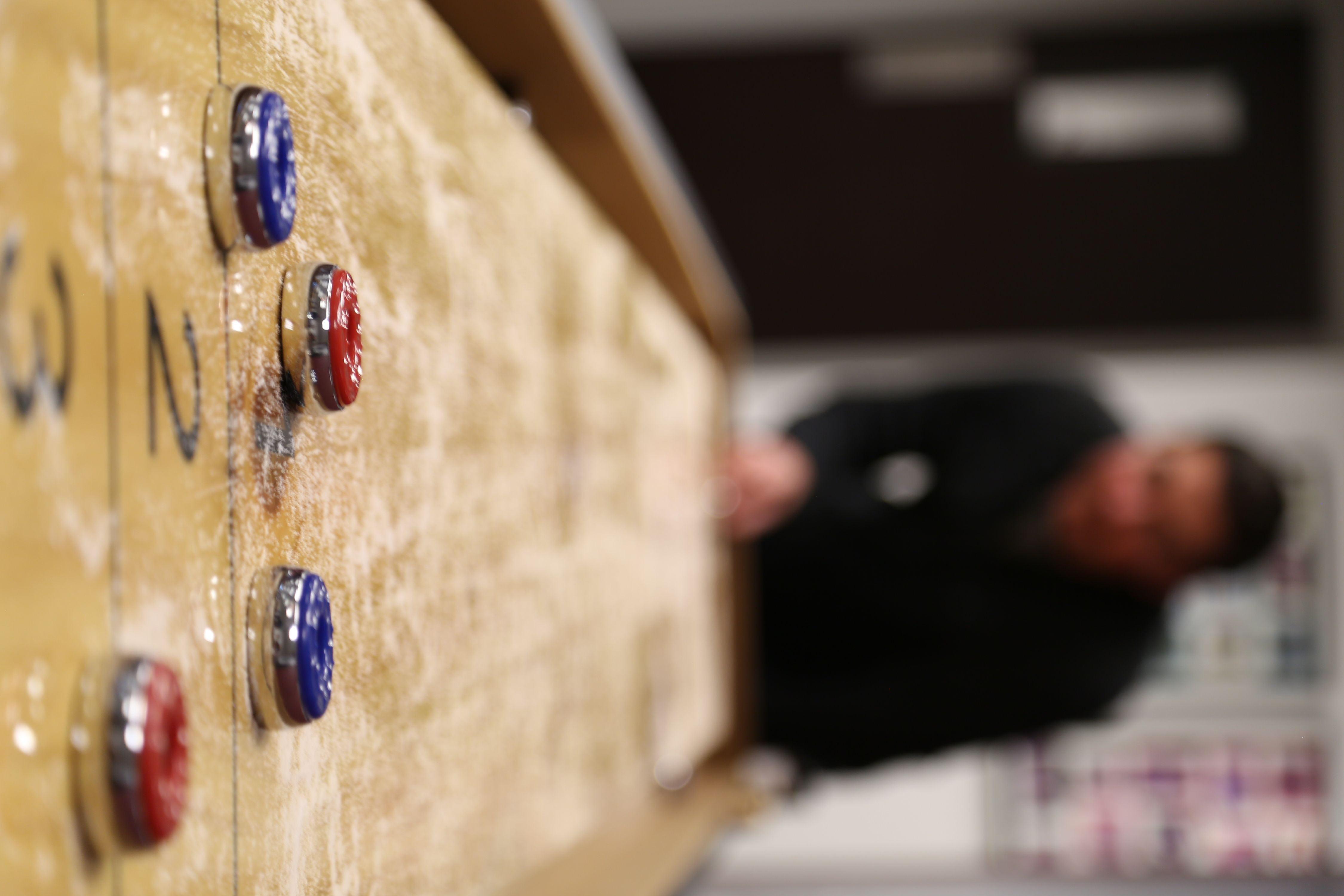 Shuffleboard Table Arcade Game Solid Butcher Block Wood Retro Vintage Pub Score