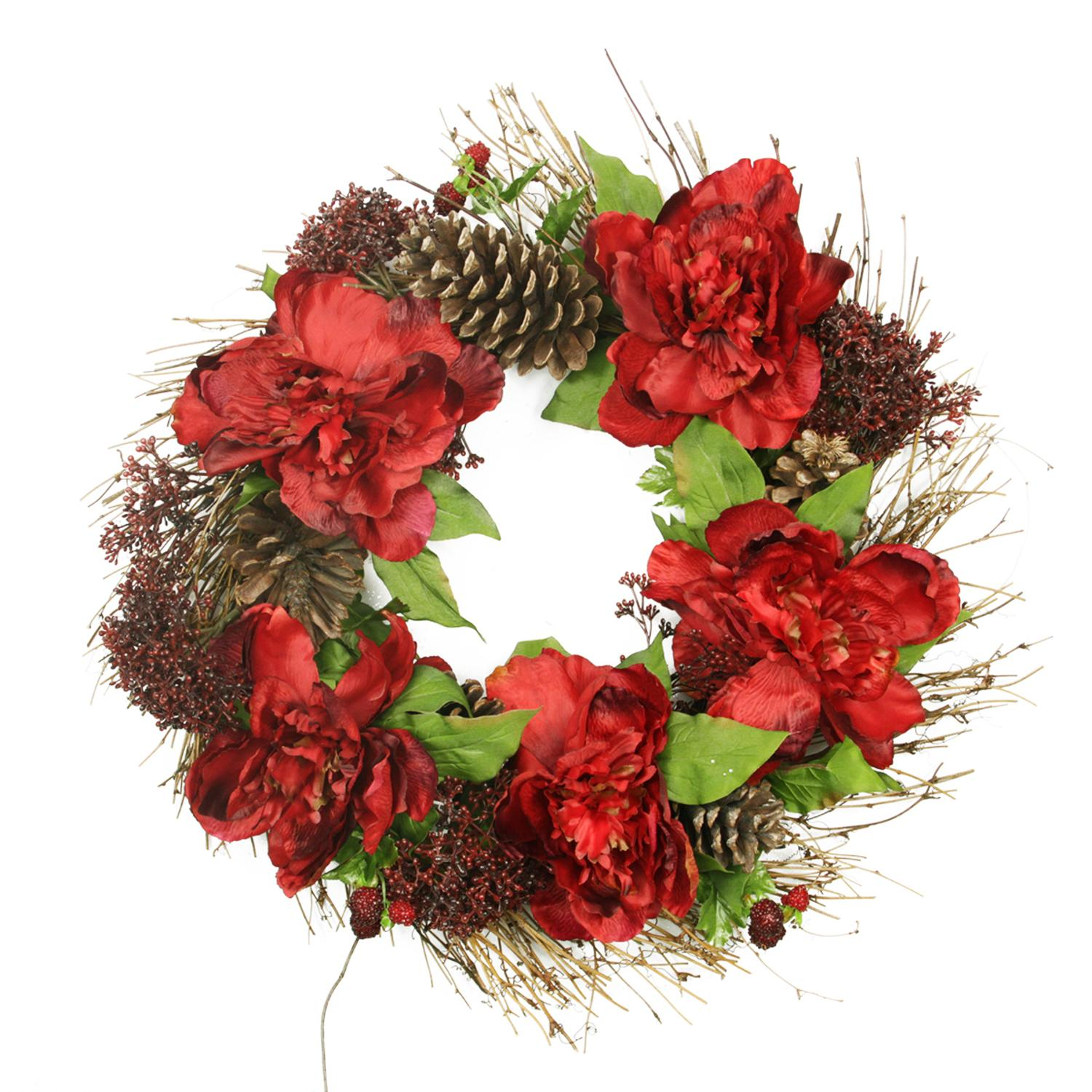 """Allstate 24"""" Unlit Red Peony, Sedum and Pine Cones Floral Artificial Christmas Wreath"""