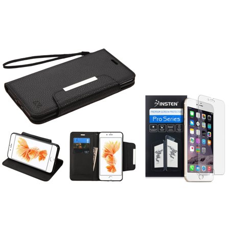 Insten Black Wallet Leather Stand Case with Lanyard for Apple iPhone 8 Plus / iPhone 7 Plus (+ Ultra Clear HD Screen Protector) ()