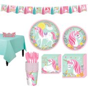 Magical Unicorn Tableware Party Supplies for 8 Guests, Includes a Tassel Garland Banner