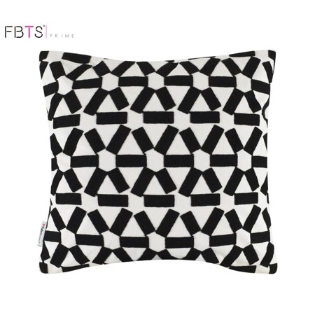 Black Pillow Sham (Throw Pillow Cushion Covers (18x18 Inches, Black) 100% Cotton Decor Embroidery Square Pillow Sham for Couch Bed Sofa Patio by FBTS)