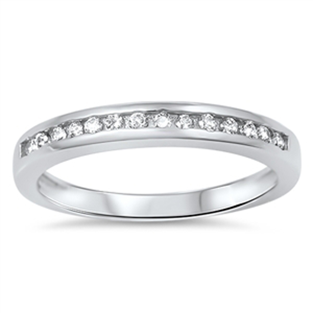Men's Women's Wedding Band Clear CZ Fashion Ring ( Sizes 5 6 7 8 9 10 ) .925 Sterling Silver Rings by Sac Silver (Size 5)