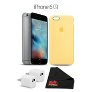 Apple iPhone 6S 16GB Space Gray Apple Iphone 6/6S Silicone Case (Yellow) w/ iPhone Case Accessory Bundle