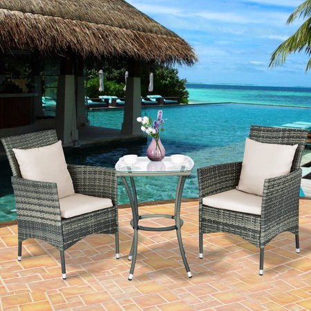 Goplus Rattan Wicker 3-Piece Outdoor Bistro Set ()
