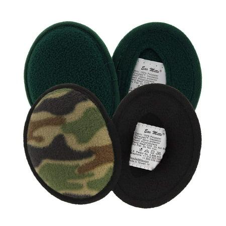 2 Pack Ear Mitts Fleece Bandless Ear Muffs For Men, Camo & Forest Green, Small thumbnail