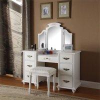 ACME Torian Vanity Desk & Stool, White