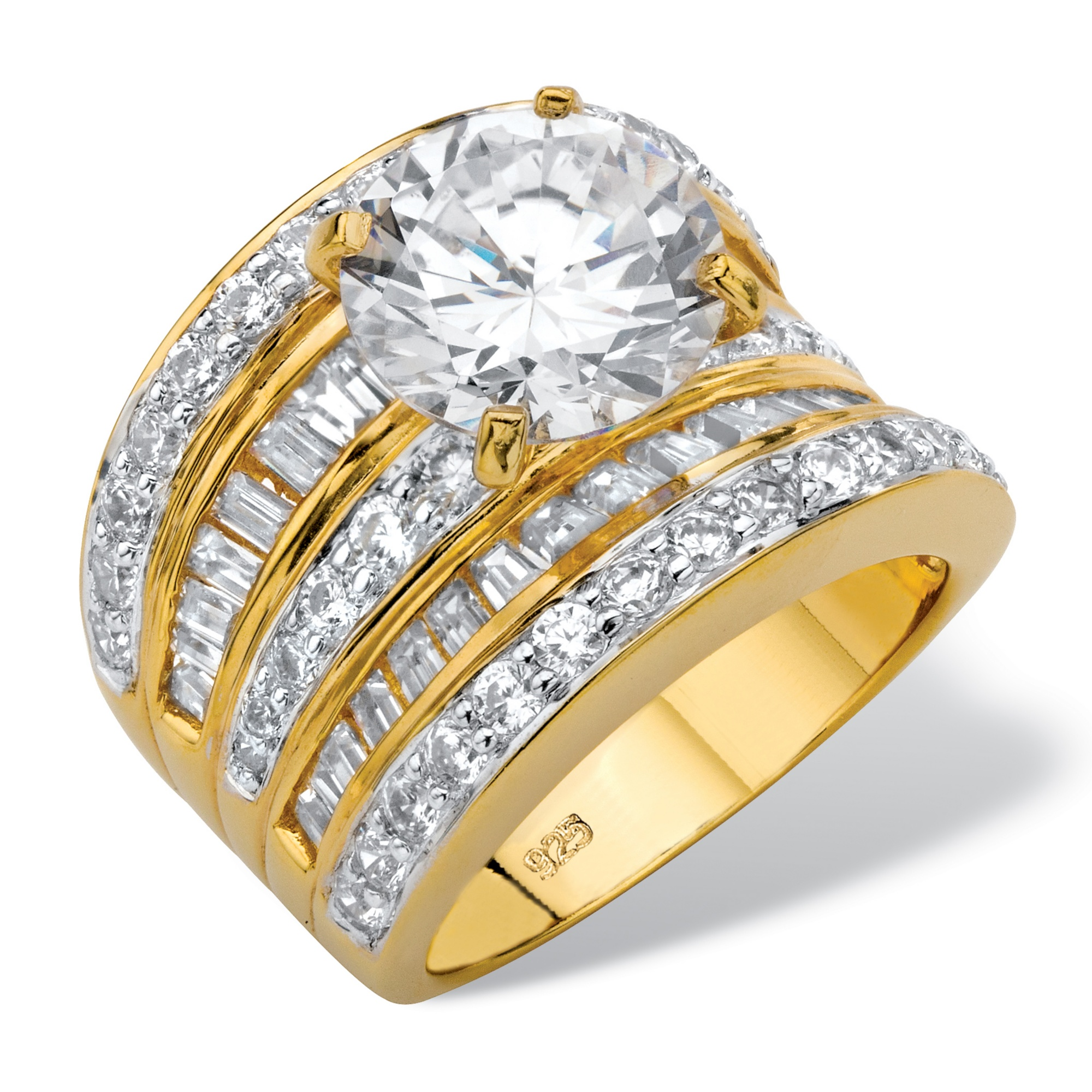 7.14 TCW Round Cubic Zirconia Multi-Row Scoop Engagement Ring in 14k Gold over Sterling Silver