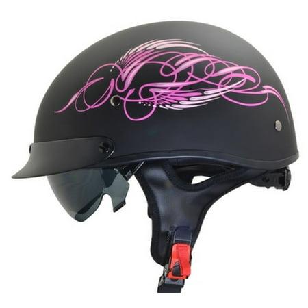Vega Warrior Pink Scroll Half Helmet Black/Pink (Vega Helmets Motorcycle)