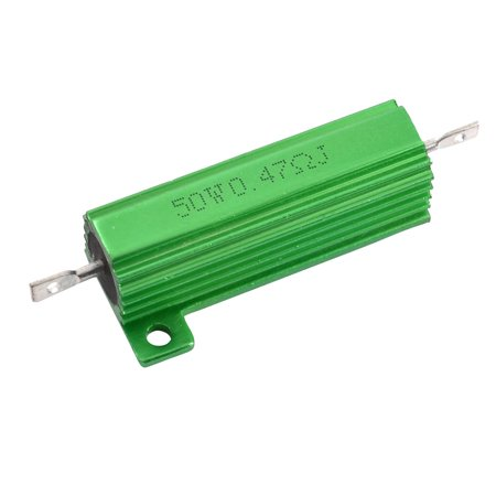 Ohm 25 Watt Wirewound Resistor - Aluminum Case 50W Watt 0.47 Ohm 5% Wirewound Power Resistor