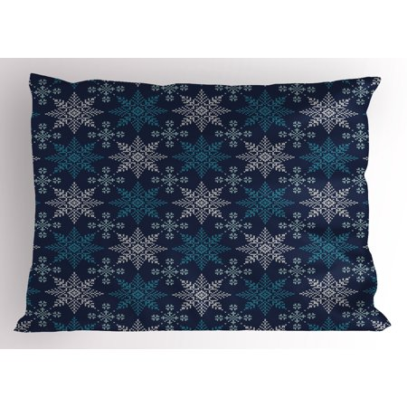 Snowflake Pillow Sham Winter Holiday Theme Eight Pointed Star Christmas Pattern, Decorative Standard Size Printed Pillowcase, 26 X 20 Inches, Pale Sea Green Dark Blue Pale Blue, by Ambesonne](Winter Holiday Themes)