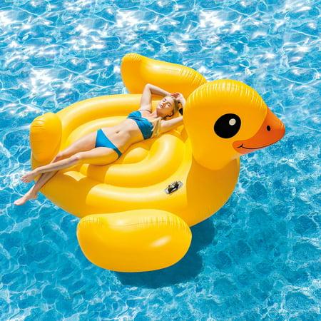 Intex Inflatable Mega Yellow Duck Island Float, 87u0022 x 87u0022 x 48u0022
