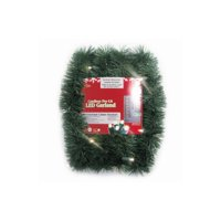 """18' x 2.5"""" Pre-Lit Battery Operated Green Christmas Garland - Warm White LED"""