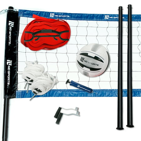 MD Sports Professional Aluminum Alloy Poles Volleyball Set with Steel Net Tension Winchs and Quick Setup Webbing Boundary Line, Backyard, Portable and Easy to Set Up, Includes Volleyball and Air (Best Volleyball Net Systems)