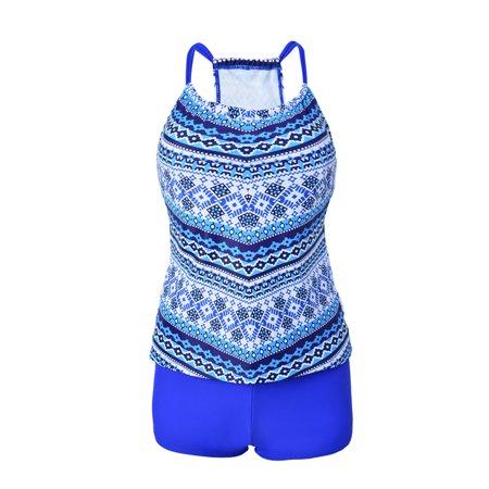 Plus Size Women's Floral Tankini Swimsuit Push Up Padded Bikini Set Swimwear Bathing