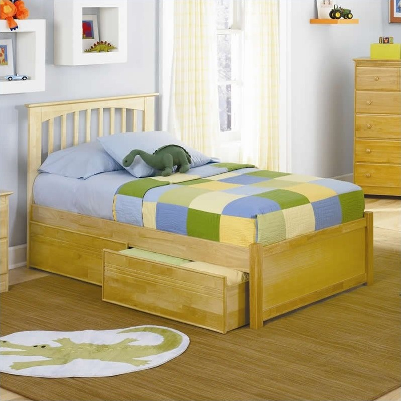 Atlantic Furniture Brooklyn Platform Bed with Flat Panel Footboard in Natural Maple-Queen