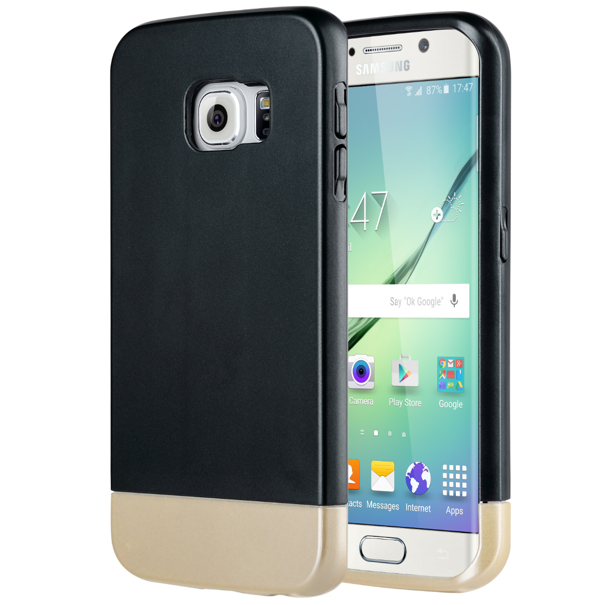 "ULAK Galaxy S6 Edge Case, Hybrid Case with Inner Soft TPU and Hard Outer Matte PC + Sliding Style Easy Installation for Samsung Galaxy S6 Edge (5.1"" inch) 2015 Release"