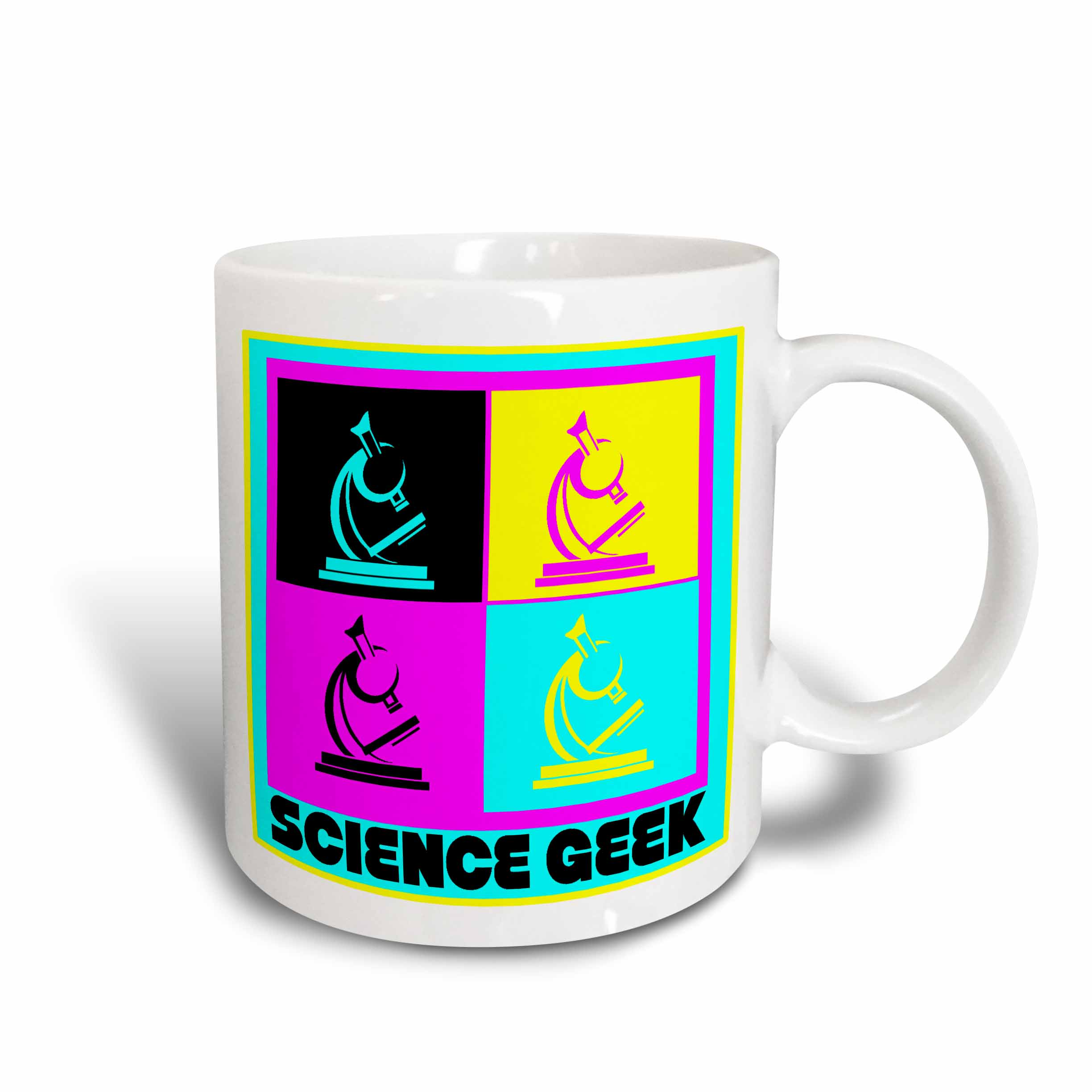 3dRose CMYK Pop art Microscope Science Geek Design Cartoon, Ceramic Mug, 15-ounce