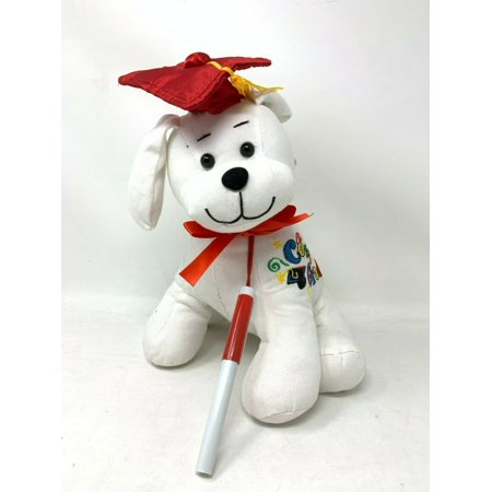 Graduation Autograph Stuffed Dog With Pen, Red Hat - Congrats Grad! 10.5""