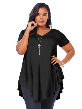 Roaman's Women's Plus Size Swing Drape Tunic