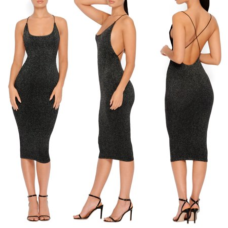 Women Sequins Club Dress Strappy Bandeau Bodycon Bandage Sleeveless Backless Summer Evening Party Slim Pencil Midi Dress Black S (Little Black Sequin Dress)