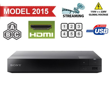 Sony BDP-S3500 Region Free DVD and Zone ABC Blu Ray Player with 100-240 Volt, 50/60 Hz, Free 6′ HDMI Cable and US- European Adapter
