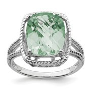925 Sterling Silver Rhodium Plated Green Quartz Engagement Ring Size 7 for Womens (5.45ct)