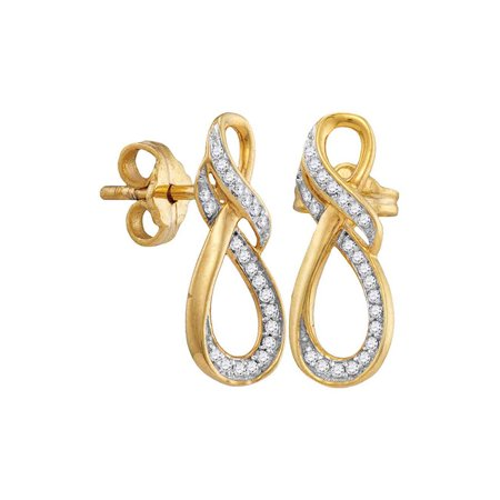 10kt Yellow Gold Womens Round Diamond Infinity Screwback Earrings 1/6 Cttw - image 1 de 1