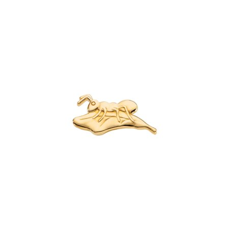 - 14k Yellow Gold The Persevering Ant on Leaf Polished Brooch